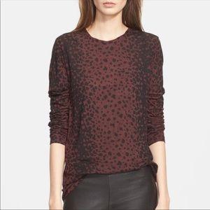 Vince Burgundy Black Leopard Print Long Sleeve